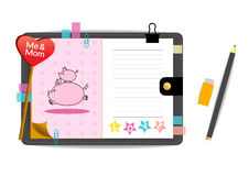 Los cerdos yo y de la mamá con amor pican el cuaderno Foto de archivo libre de regalías