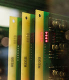 Los chips de ordenador viejos y del vintage de los transistores fotos de archivo libres de regalías