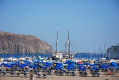 Los christianos. Harbor and beach, canary islands Royalty Free Stock Image