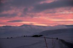Cielo rosado de Longyear Fotos de archivo