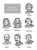 Los científicos famosos vector los retratos, Newton, Einstein, Mendeleev Darwin Tesla Lomonosov Fotografía de archivo