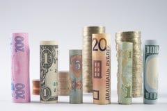 Los cientos dólares de EE. UU. y la otra moneda rodaron billetes de banco de las cuentas, con las monedas apiladas Fotografía de archivo