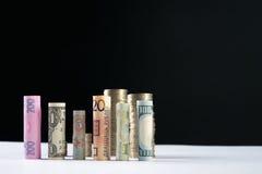 Los cientos dólares de EE. UU. y la otra moneda rodaron billetes de banco de las cuentas, con las monedas apiladas Foto de archivo