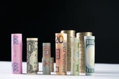 Los cientos dólares de EE. UU. y la otra moneda rodaron billetes de banco de las cuentas, con las monedas apiladas Fotografía de archivo libre de regalías