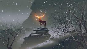Los ciervos con los cuernos del fuego en invierno ilustración del vector