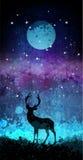 Los ciervos siluetean delante del cielo nocturno brillante con la luna y las estrellas ilustración del vector