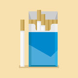 Los cigarrillos abiertos embalan el espacio en blanco de caja en estilo plano stock de ilustración