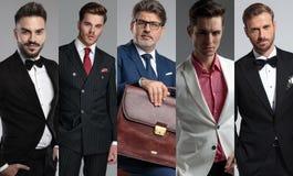 Los cinco retratos de los hombres hermosos en una foto del collage imágenes de archivo libres de regalías