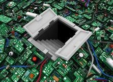 Los circuitos abren la portilla Imágenes de archivo libres de regalías