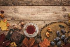 Los ciruelos, las nueces y las hojas con el cuaderno del vintage y el té con el filtro de la película efectúan horizontal Fotografía de archivo libre de regalías