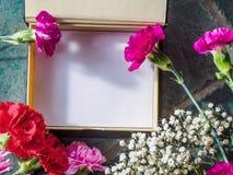 Los claveles coloridos con el espacio de la caja y de la copia en el granito emergen Fotografía de archivo libre de regalías