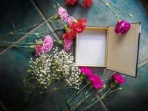 Los claveles coloridos con el espacio de la caja y de la copia en el granito emergen Foto de archivo libre de regalías