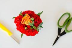 Los claveles rojos y subieron Fotos de archivo libres de regalías