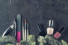Los clavos del tema del invierno diseñan y manicure, los instrumentos para la manicura con las agujas imagen de archivo