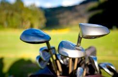 Los clubs de golf se cierran para arriba Foto de archivo