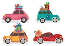 Los coches con los presentes en el top stock de ilustración