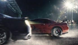 Los coches de competición de la fricción en la pista 3d de la noche rinden foto de archivo libre de regalías