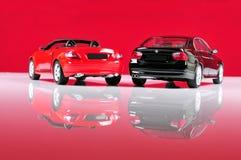 Los coches lujosos mueven hacia atrás la visión Fotografía de archivo