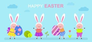 Los cochinillos lindos con los oídos del conejito están sosteniendo los huevos de Pascua stock de ilustración