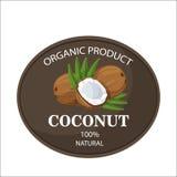 Los cocos y las hojas de palma maduros alrededor del círculo badge con por ciento fresco de la granja del texto el 100 natural stock de ilustración