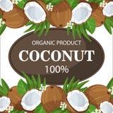 Los cocos y las hojas de palma maduros alrededor del círculo badge con por ciento fresco de la granja del texto el 100 natural Fotografía de archivo libre de regalías
