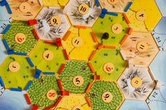 Los colonos del juego de mesa de Katana del juego de mesa de Catan fotografía de archivo