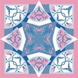 Los colores de seda del delicat de la bufanda con las flores abstractas vector el modelo con los elementos florales dibujados man Imagenes de archivo