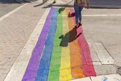 Los colores del orgullo pintan cubren el paso de peatones imagen de archivo