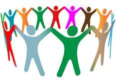 Los colores diversos de la gente del símbolo de la mezcla llevan a cabo el anillo de las manos Foto de archivo libre de regalías