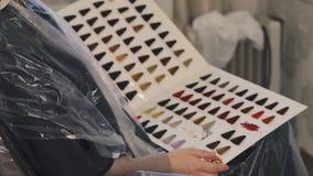 Los colores se presentan el color original del pelo, azul, rosa, púrpura, blanca en el libro pesado de la cartulina en un salón d almacen de video