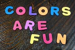 Los colores son educación de las letras de la diversión Fotografía de archivo