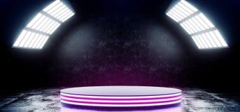 Los colores vibrantes azules de la púrpura de neón futurista moderna de Sci Fi con la etapa vacía Hall Glowing With Big White del libre illustration