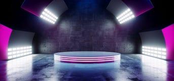 Los colores vibrantes azules de la púrpura de neón futurista moderna de Sci Fi con la etapa vacía Hall Glowing With Big White del ilustración del vector