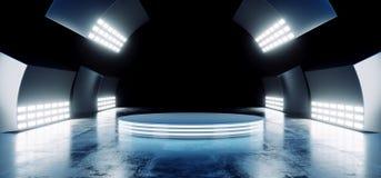 Los colores vibrantes azules de neón futuristas modernos de Sci Fi con la etapa vacía Hall Glowing With Big White del círculo enc stock de ilustración