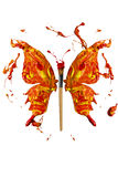 Los colores y la brocha hicieron la mariposa Foto de archivo