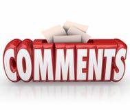 Los comentarios someten comentarios de la reacción de la caja de la palabra de la sugerencia de las ideas Foto de archivo