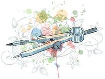 Los compases bosquejan y ornamento floral de la caligrafía Fotografía de archivo libre de regalías