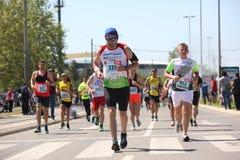 Los competidores del 31ro maratón internacional de Belgrado corren en la calle de la ciudad Imágenes de archivo libres de regalías
