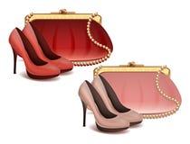 Los complementos femeninos del vector fijaron el bolso y los zapatos en colores rosados y rojos libre illustration