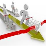 Los compradores compiten con para el mejor reparto ilustración del vector