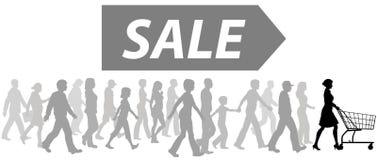 Los compradores del arranque de cinta del carro de compras desfilan para comprar venta libre illustration