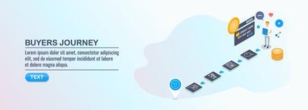 Los compradores viajan - mapa del viaje del cliente - experiencia del cliente - concepto de diseño plano isométrico 3d stock de ilustración