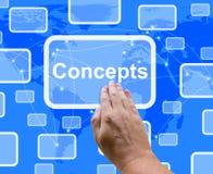 Los conceptos abotonan mostrar el pensamiento y la creatividad de las ideas Foto de archivo
