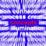 Los conceptos redactan la representación de nuevas ideas Foto de archivo
