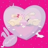 Los conejos aman la tarjeta del vector de los corazones con el lugar para el texto Foto de archivo libre de regalías