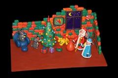Los conejos de la plastilina adornan un árbol de navidad Imagenes de archivo