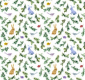 Los conejos lindos, pájaros, ramifican árbol de navidad Modelo inconsútil watercolor Imágenes de archivo libres de regalías