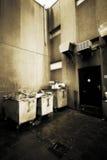 Los contenedores de la basura hacia fuera mueven hacia atrás Imagenes de archivo