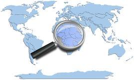 Los continentes azules del mapa del mundo con África magnificaron Fotos de archivo libres de regalías