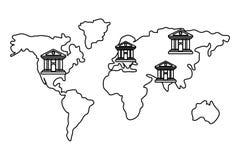 Los continentes mundiales del esquema del mapa depositan los iconos blancos y negros stock de ilustración